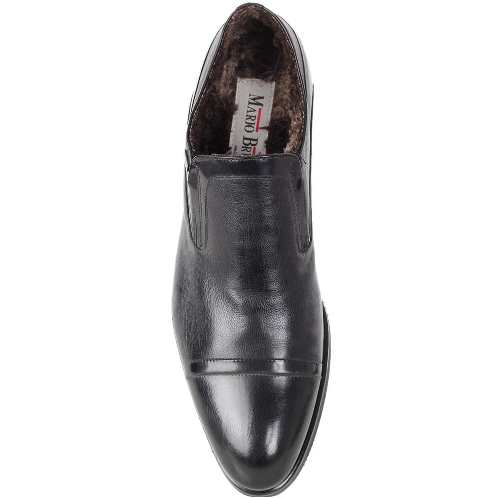 Туфли Mario Bruni из кожи черного цвета со вставками из полированной кожи