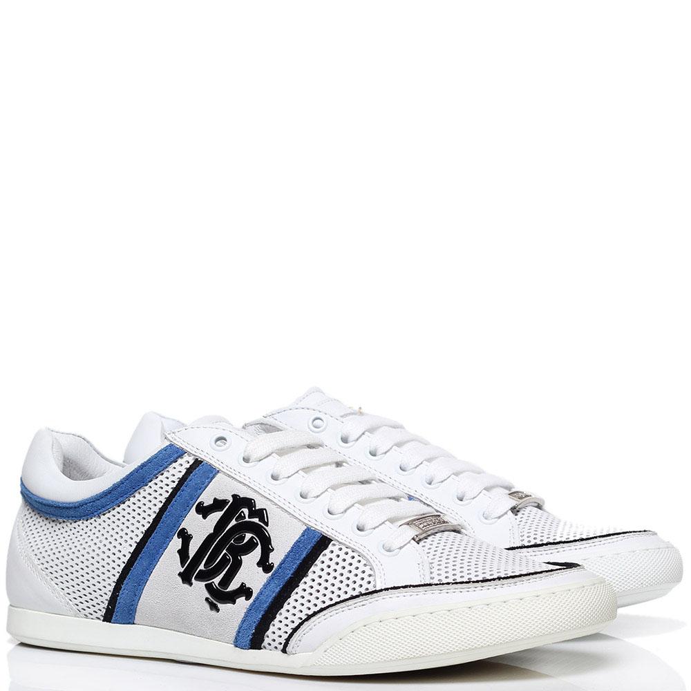 Белые кроссовки из перфорированной кожи Roberto Cavalli с фирменным логотипом