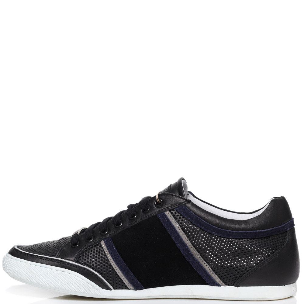 Черные кроссовки из перфорированной кожи Roberto Cavalli с фирменным логотипом