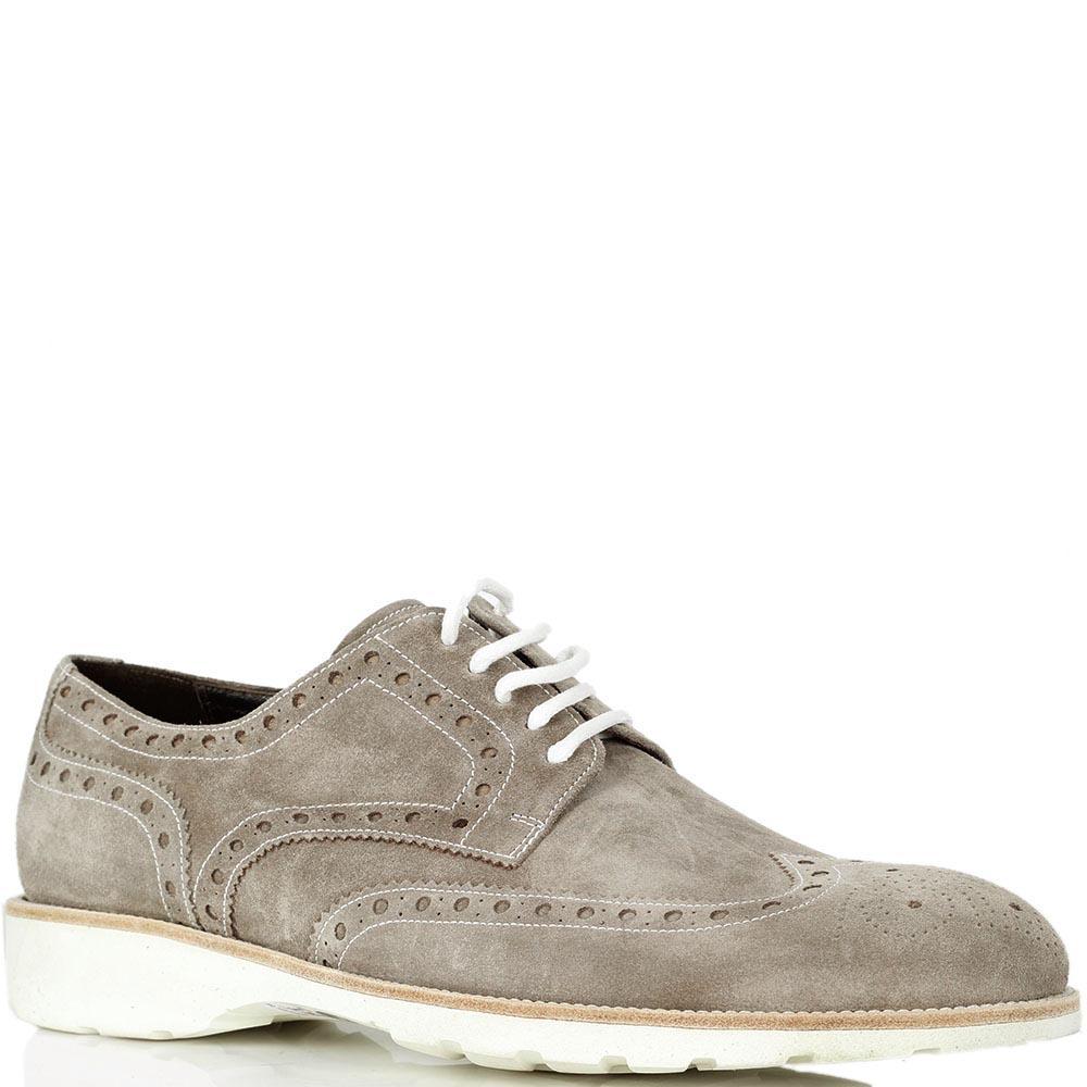 Замшевые туфли-броги Mario Bruni бежевого цвета