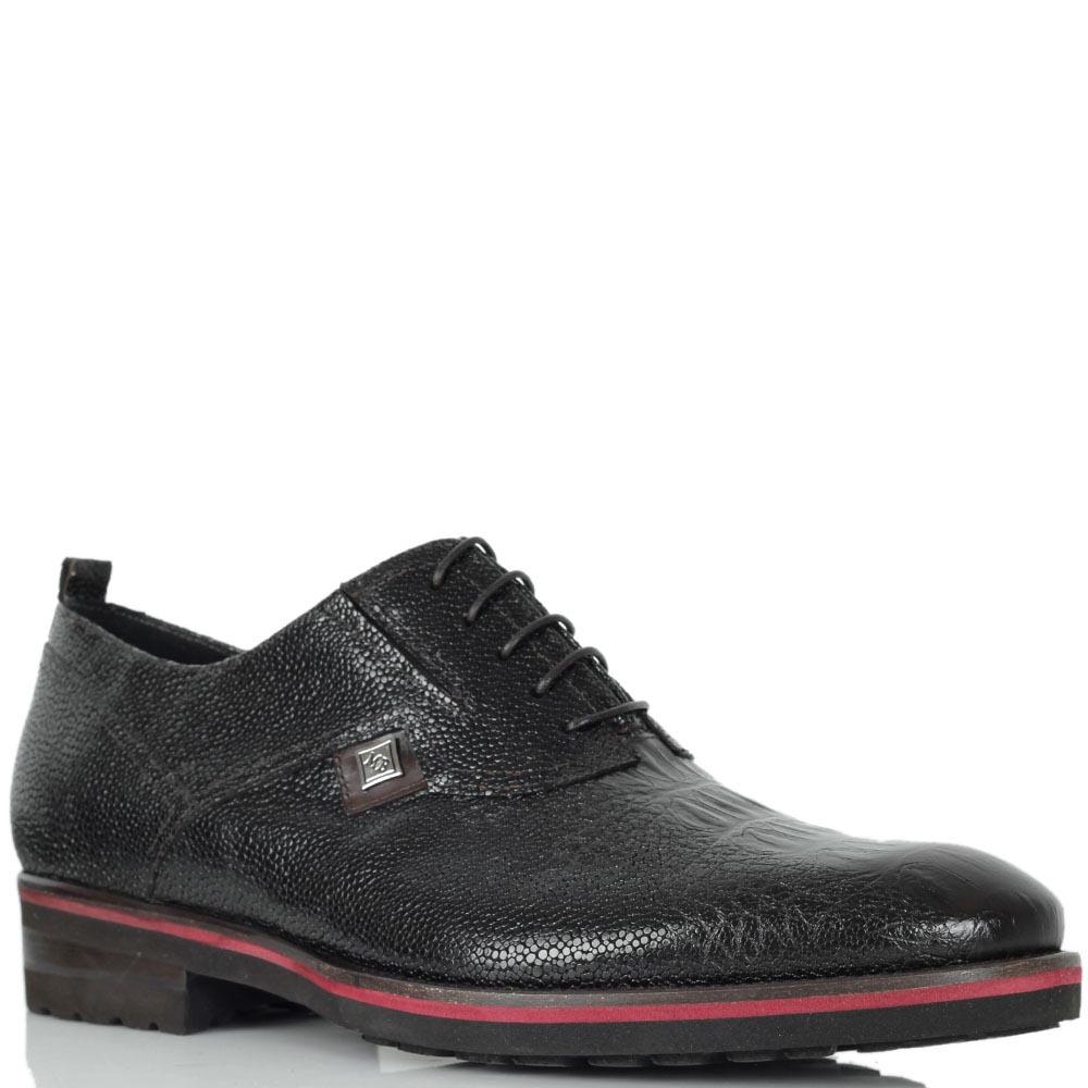Туфли Mario Bruni из натуральной лаковой кожи с тиснением под кожу рептилии