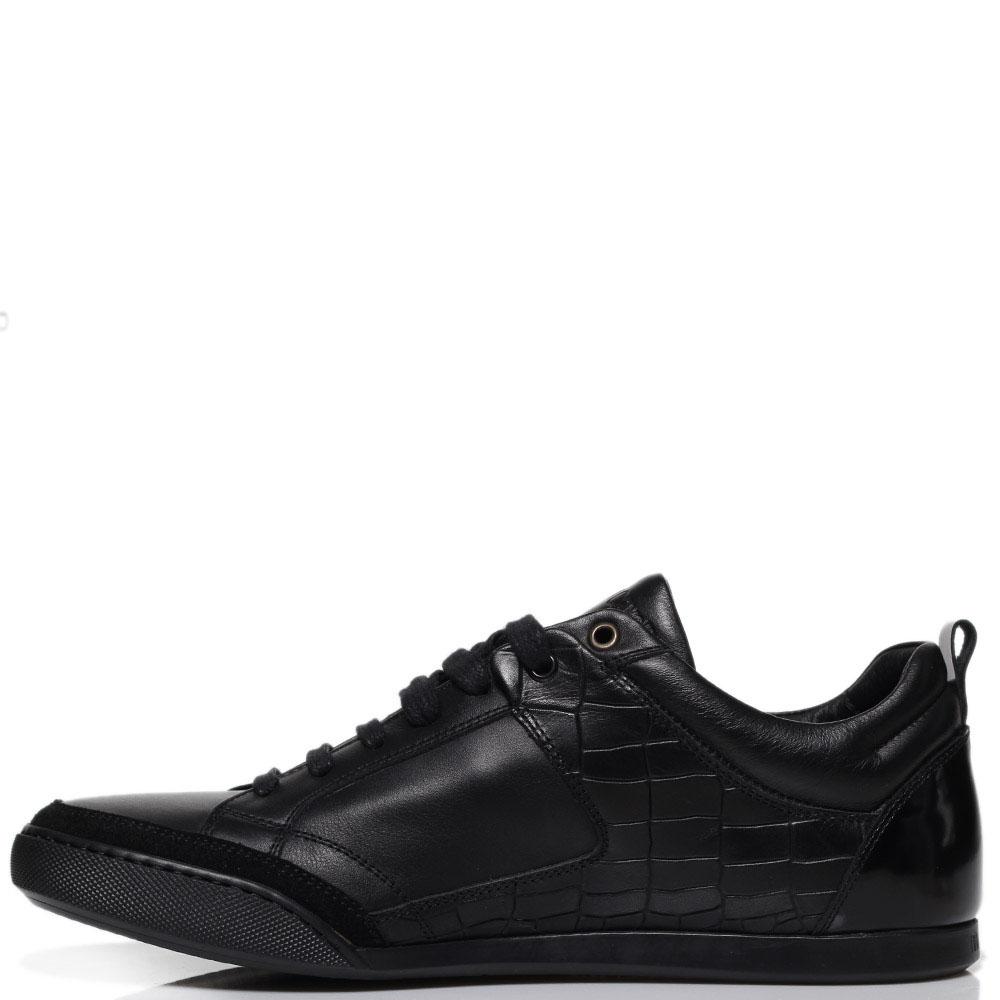 Кроссовки из кожи черного цвета Roberto Cavalli с тиснеными под рептилию вставками