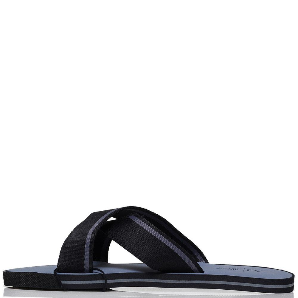 Сланцы из текстиля черного цвета Armani Jeans с фирменной надписью