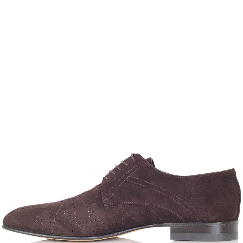 Туфли Giovanni Ciccioli из замши коричневого цвета с перфорацией