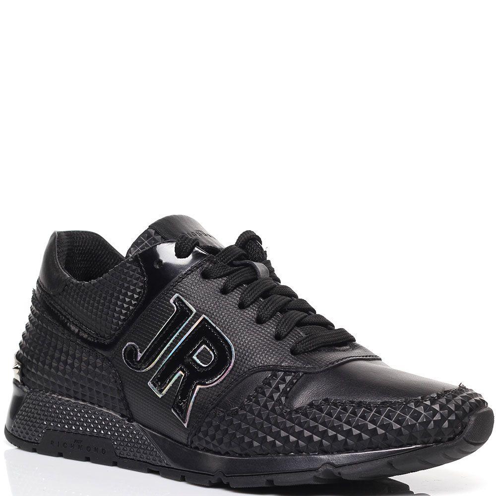 Кожаные кроссовки с резиновыми вставками Richmond черного цвета
