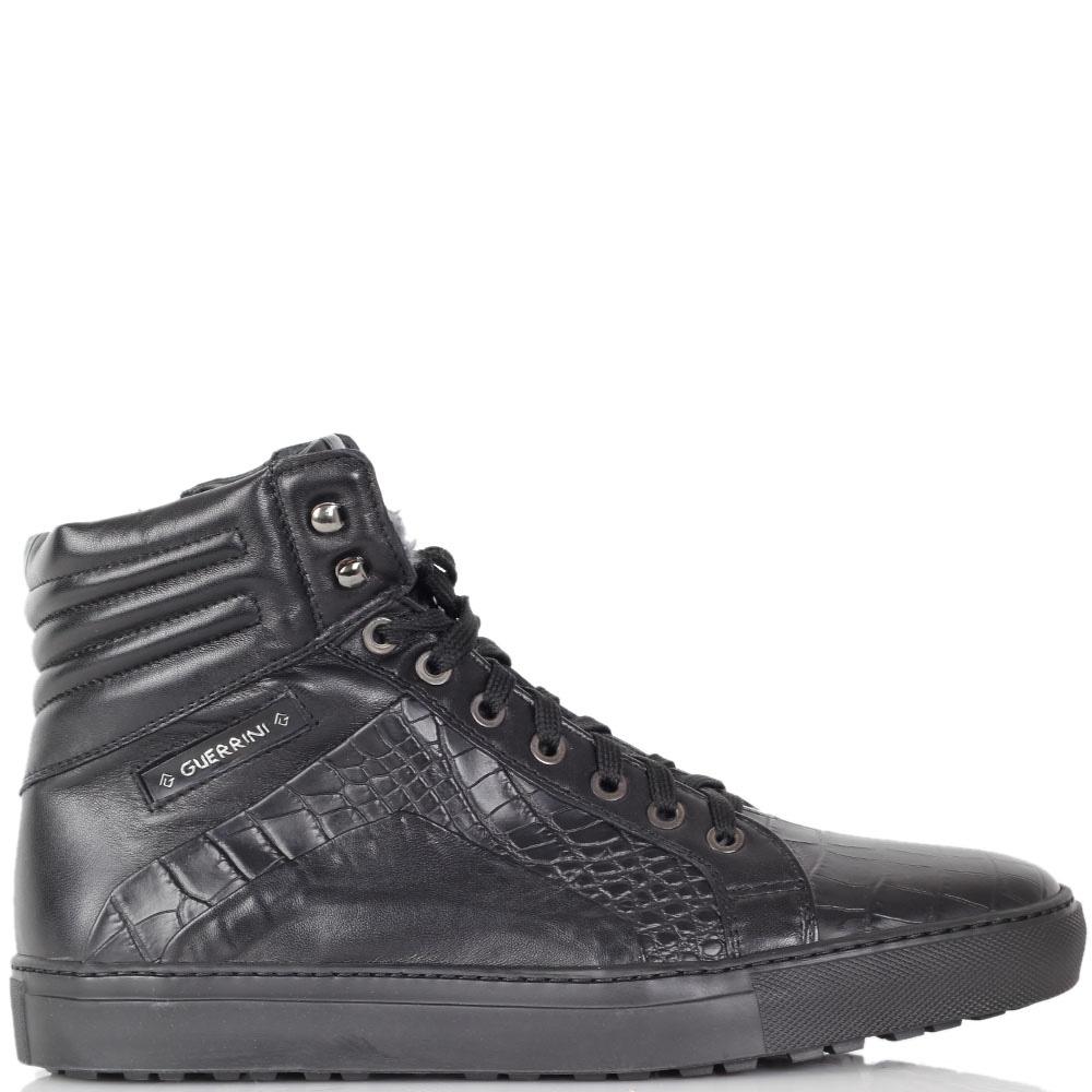Зимние ботинки Luca Guarini из натуральной кожи с фактурой кроко