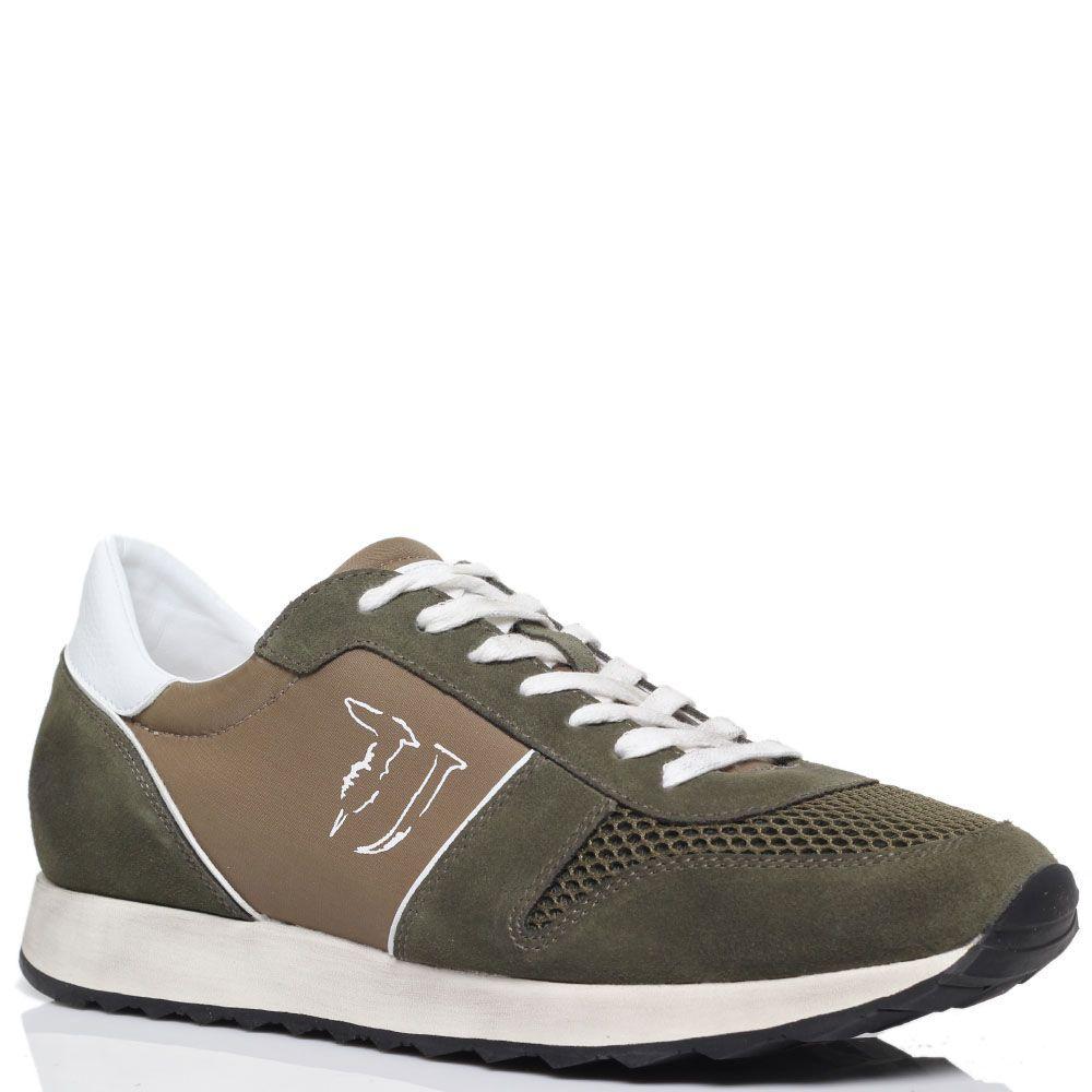 Замшевые кроссовки с текстильными вставками Trussardi Jeans зеленого цвета