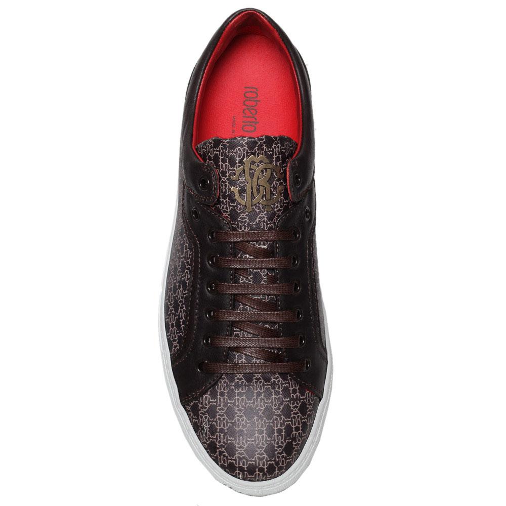 Кожаные кеды с брендированным принтом Roberto Cavalli коричневого цвета