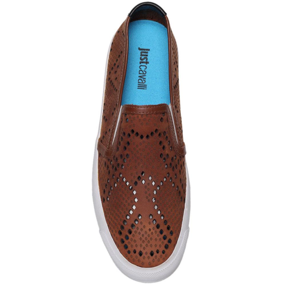 Кожаные слипоны коричневого цвета Just Cavalli с перфорацией
