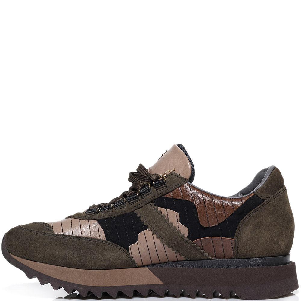 Кроссовки из замши зеленого цвета с коричневыми замшевыми деталями Cesare Paciotti
