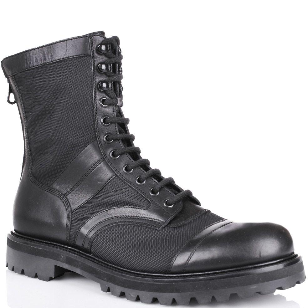 Ботинки London черного цвета на шнуровке и с молнией сзади