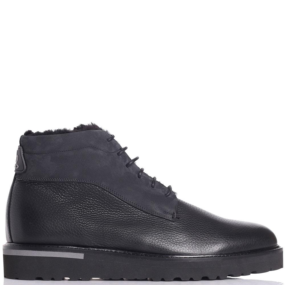 Черные ботинки Lab Milano из зернистой кожи