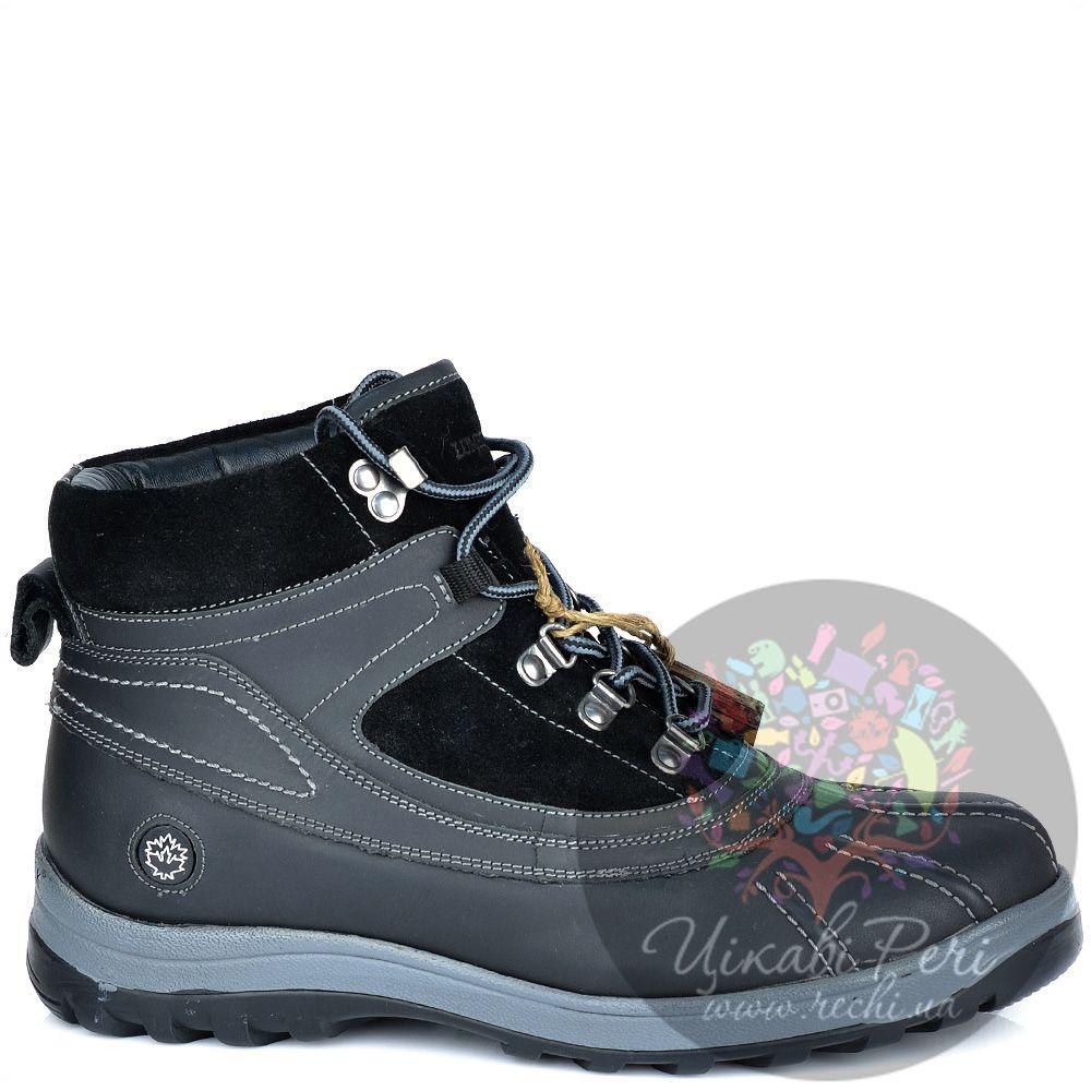 Ботинки Lumberjack черно-серые кожаные в спортивном стиле