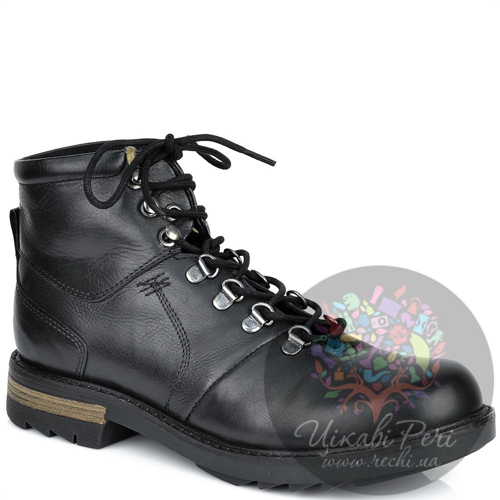 Ботинки Lumberjack черные кожаные на стильной толстой подошве