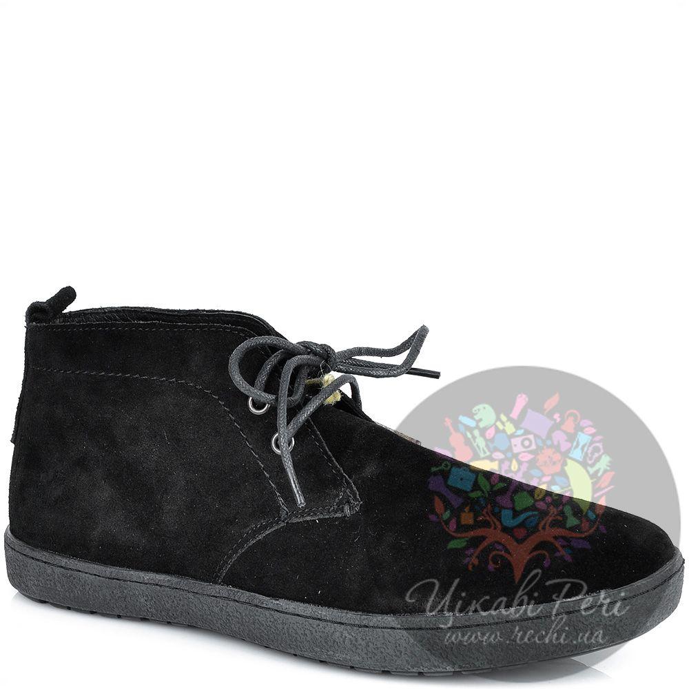 Ботинки Lumberjack замшевые черные осенние на шнуровке