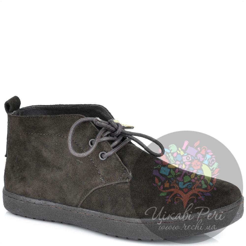 Ботинки Lumberjack темно-коричневые замшевые осенние на шнуровке