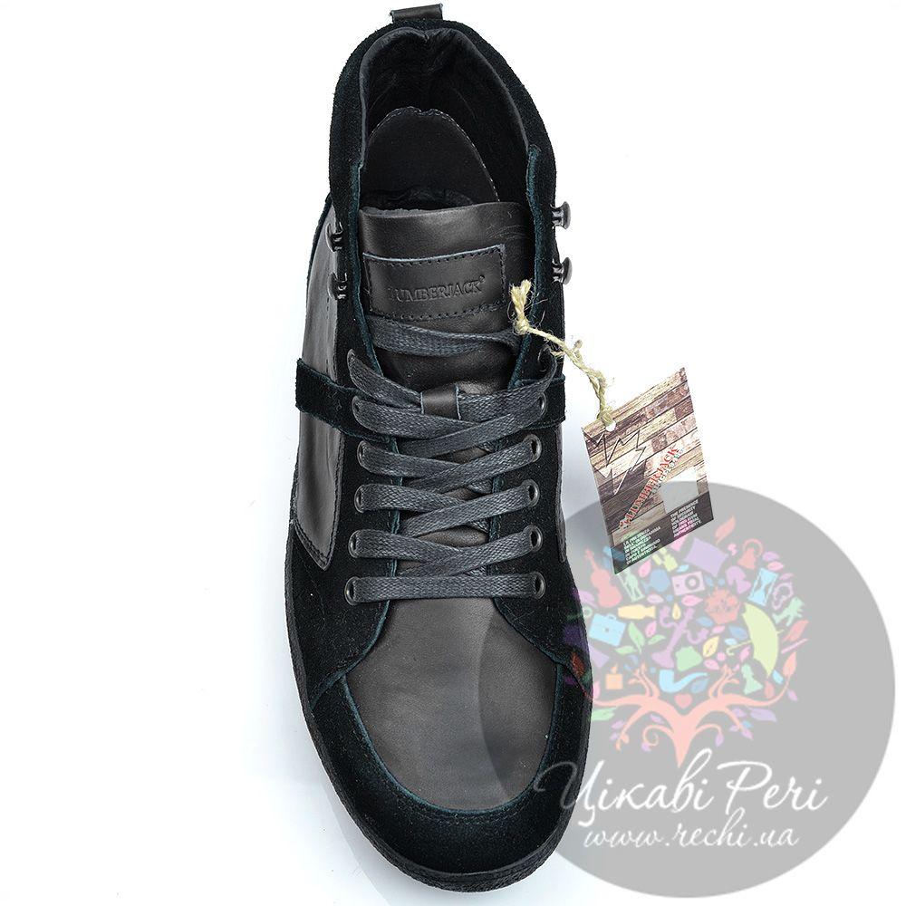 Ботинки Lumberjack черные из замши и кожи в спортивном стиле