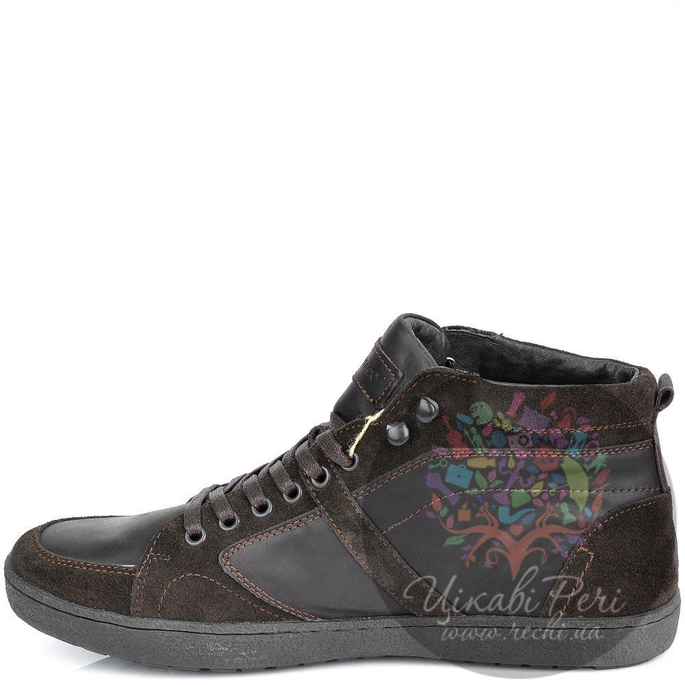 Ботинки Lumberjack темно-коричневые из замши и кожи в спортивном стиле