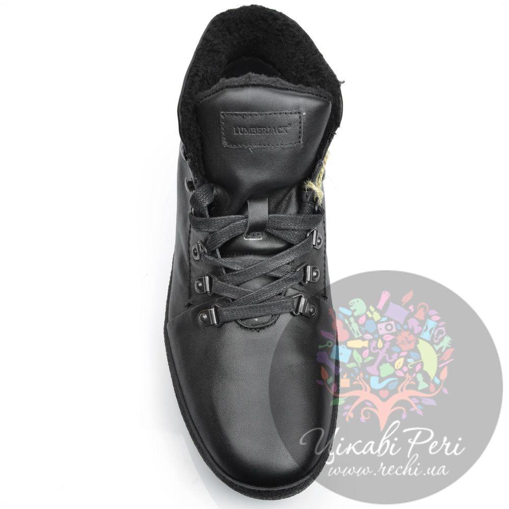 Ботинки Lumberjack кожаные черные с утеплителем на сплошной подошве