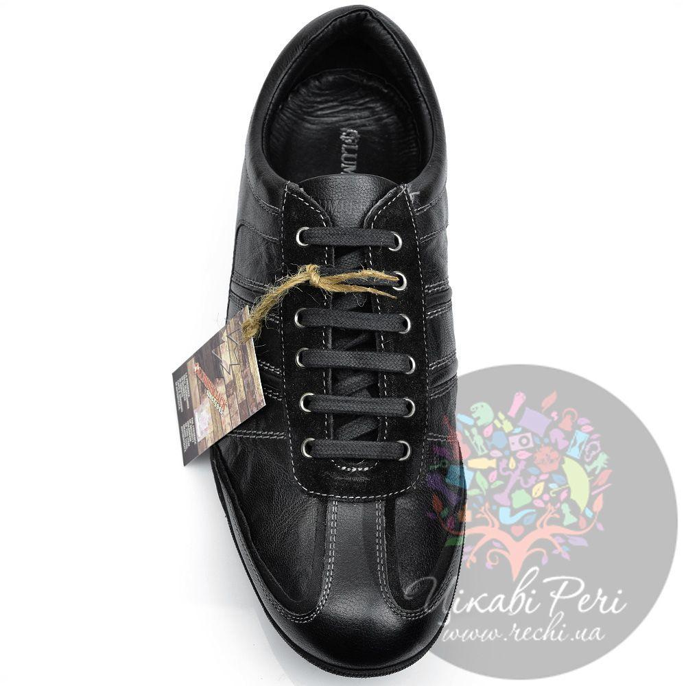 Кроссовки Lumberjack кожаные черные на шнуровке