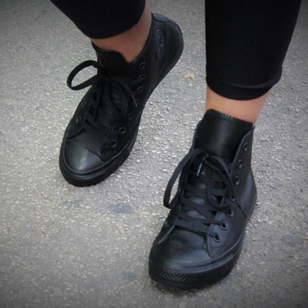 Мужские кеды Converse из натуральной кожи черного цвета