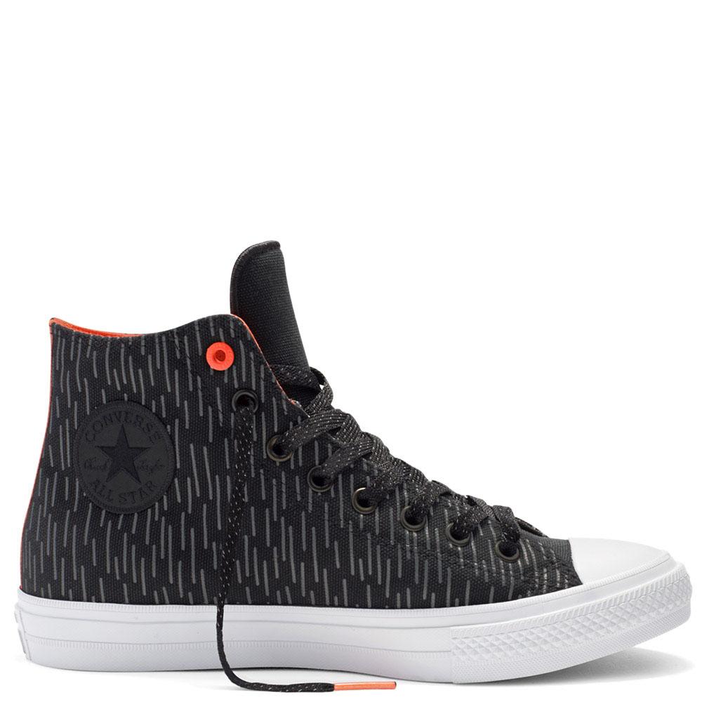 Мужские черные высокие кеды Converse с вертикальной штриховкой