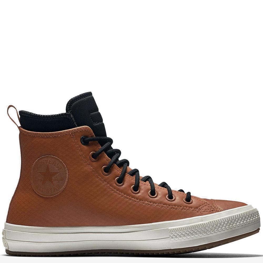 Мужские высокие кеды Converse коричневого цвета с черной шнуровкой