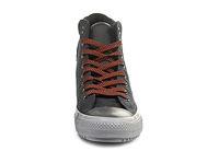 Мужские высокие черные кеды Converse с оранжевой шнуровкой и серой подошвой