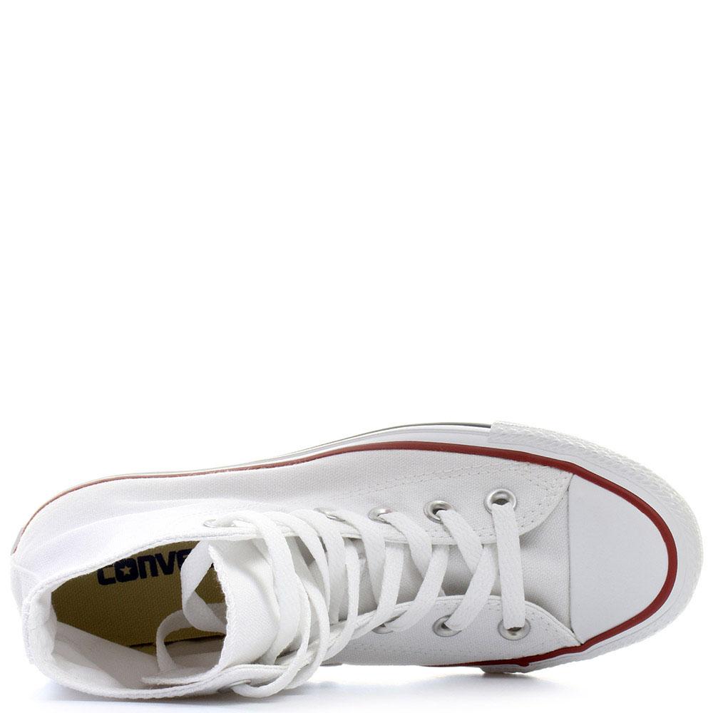 Мужские белые высокие кеды Converse с красной и синей полосами вдоль подошвы