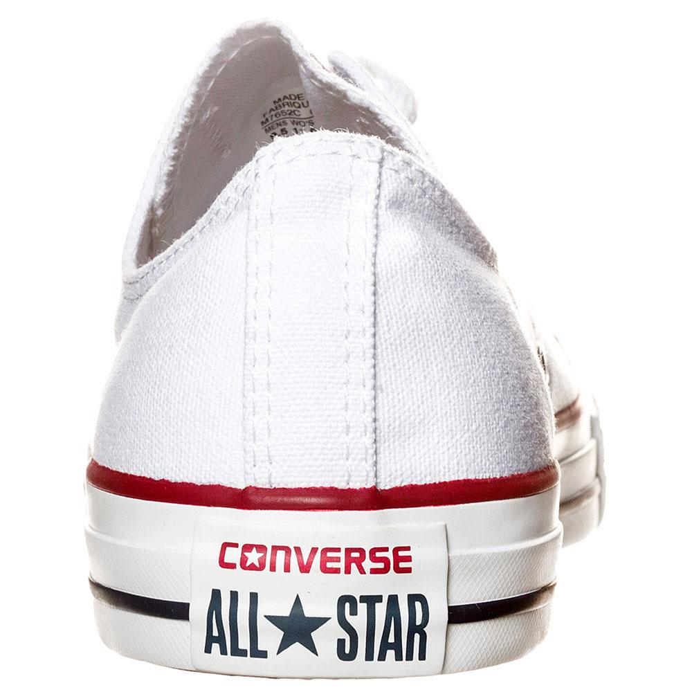 Мужские кеды Converse белого цвета с красной и синей полосами вдоль подошвы