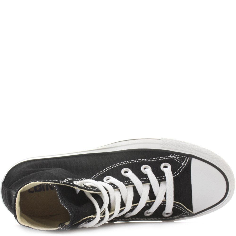 Мужские черные высокие кеды Converse с белой подошвой и шнуровкой