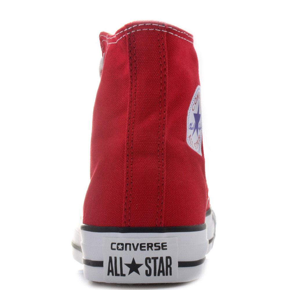 Мужские высокие кеды Converse красного цвета с черной окантовкой подошвы