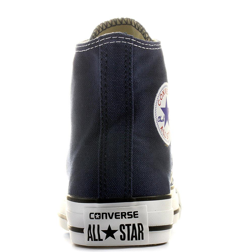 Мужские синие высокие кеды Converse с белой подошвой и шнуровкой