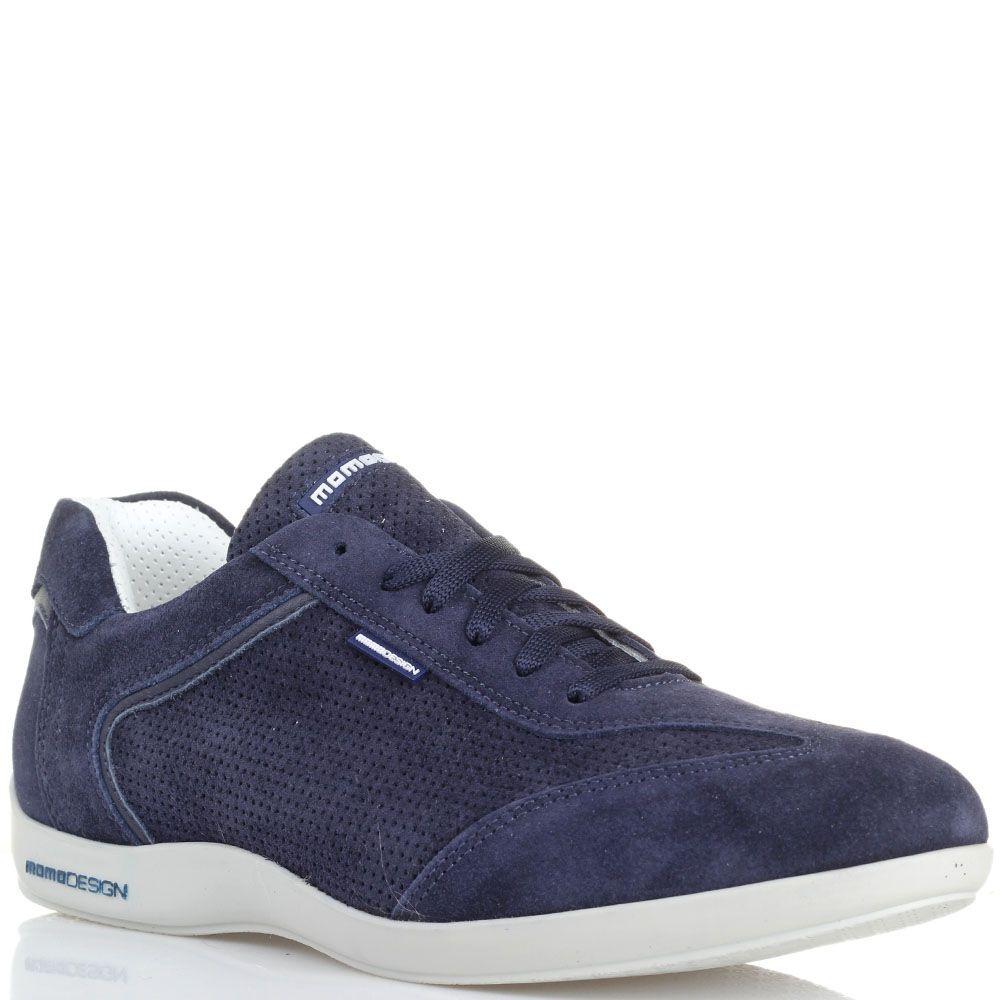 Кроссовки из нубука с перфорацией Momodesign синего цвета