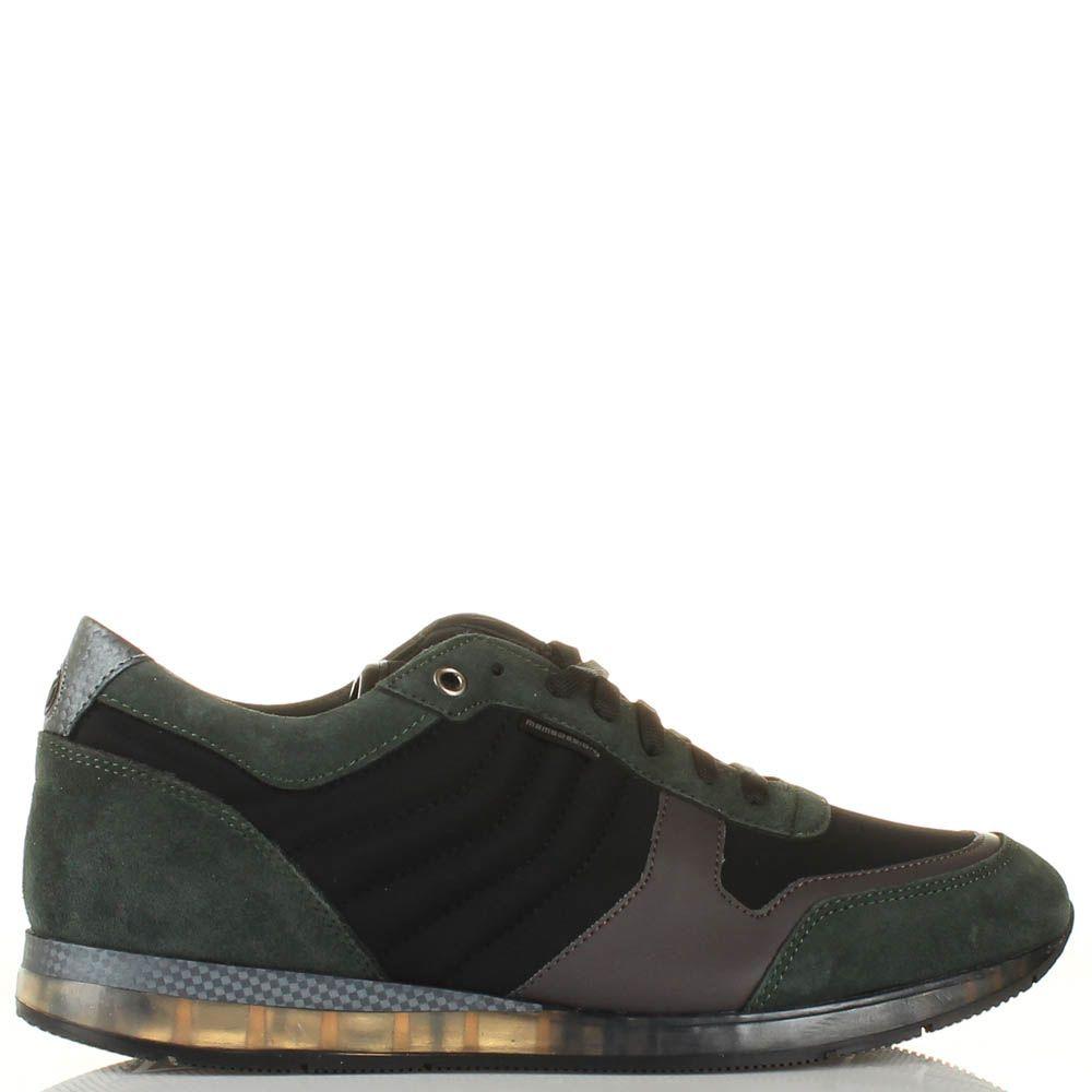 Кроссовки Momodesign из натуральной черной и темно-зеленой замши