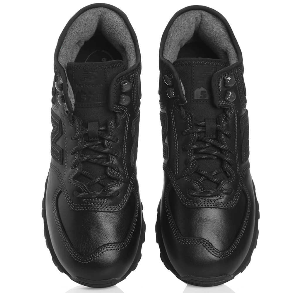 Черные кроссовки New Balance 574 Mid из гладкой кожи