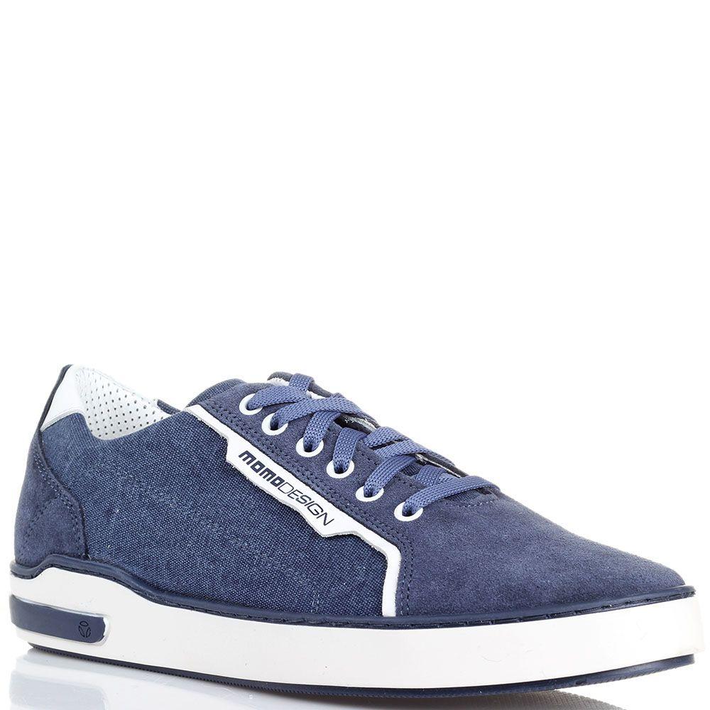 Кеды из замши с джинсовыми вставками Momodesign голубого цвета