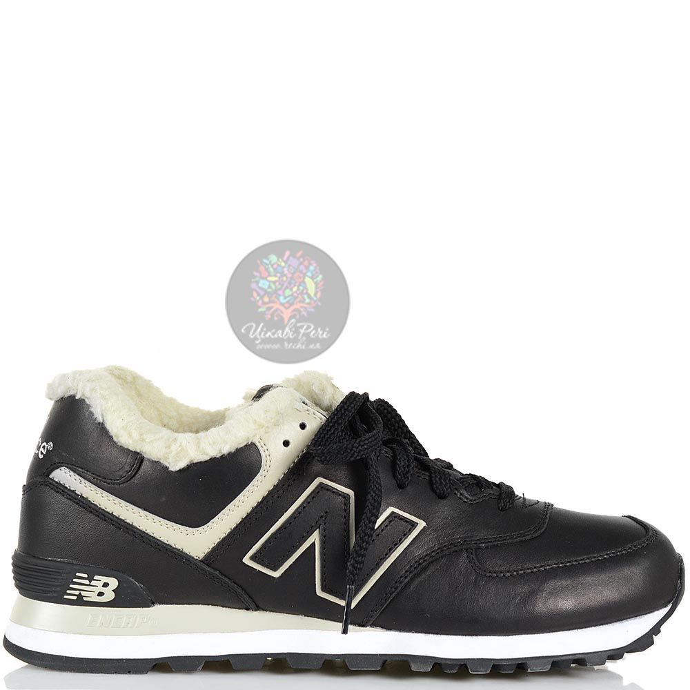 Зимние кожаные кроссовки New Balance LifeStyle 574 Fur с мехом черные мужские