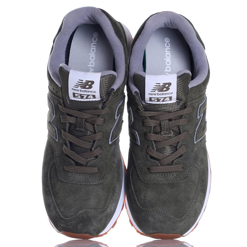 Замшевые кроссовки New Balance 574 зеленого цвета