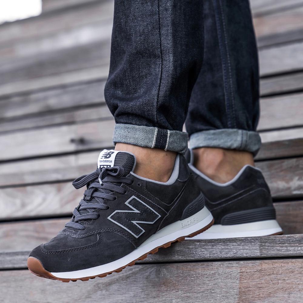 Замшевые кроссовки New Balance 574 серого цвета