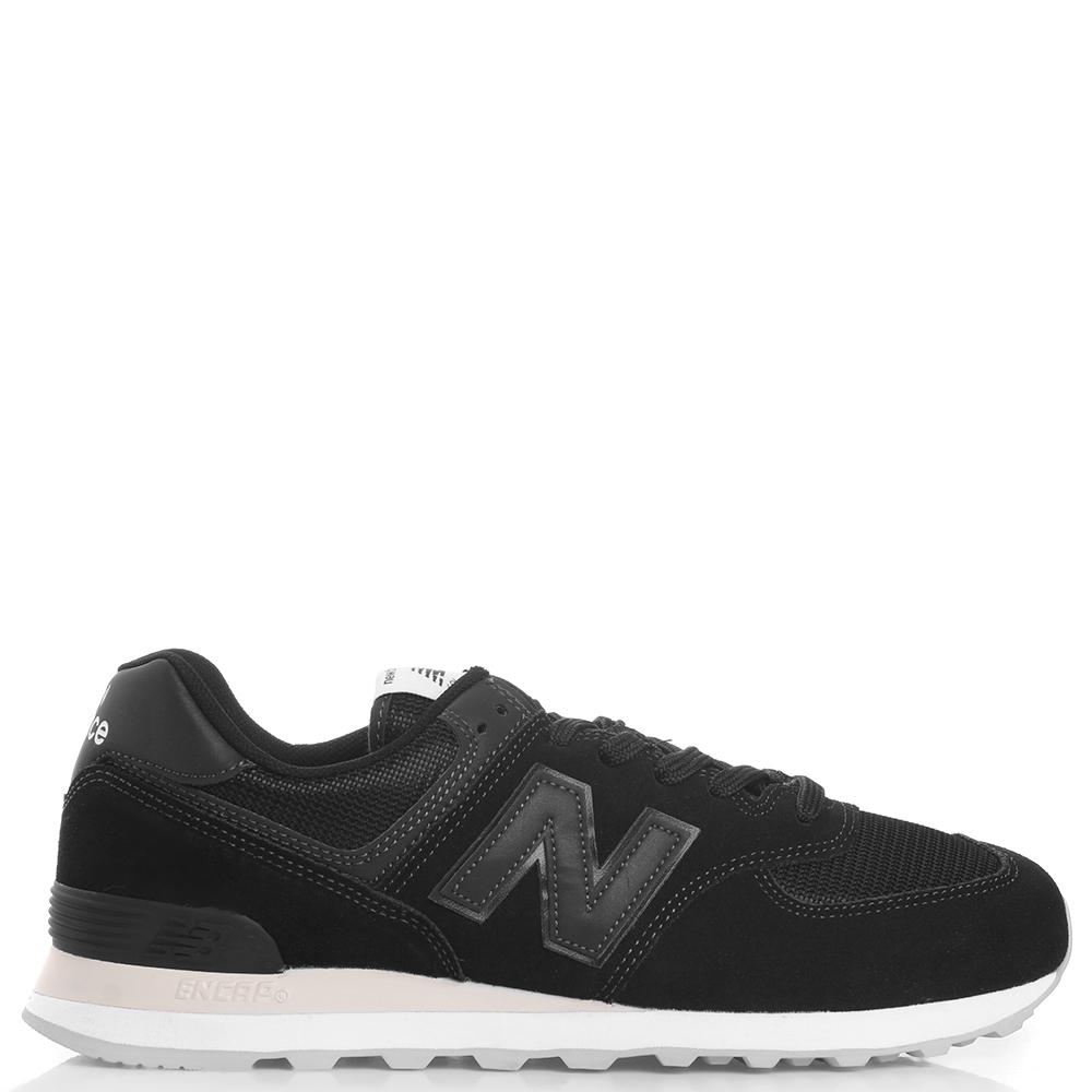 Черные кроссовки New Balance 574 на шнуровке