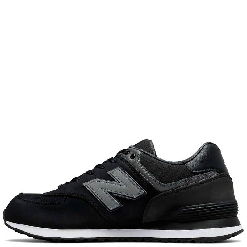 Замшевые кроссовки New Balance 574 черные с серым