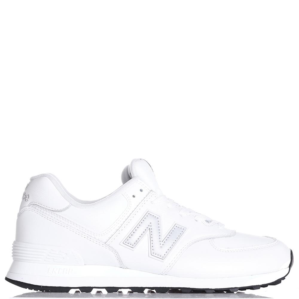 Кроссовки New Balance 574 из кожи белого цвета