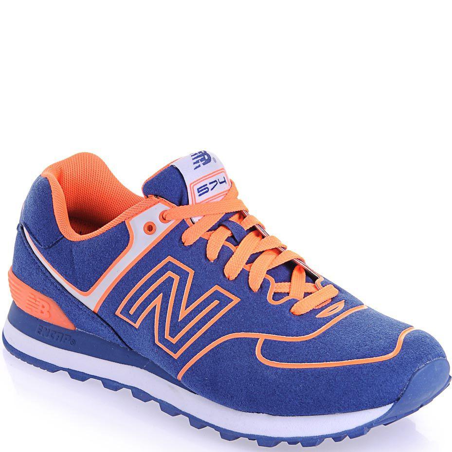 Кроссовки New Balance 574 Neon синие с ярко-оранжевым