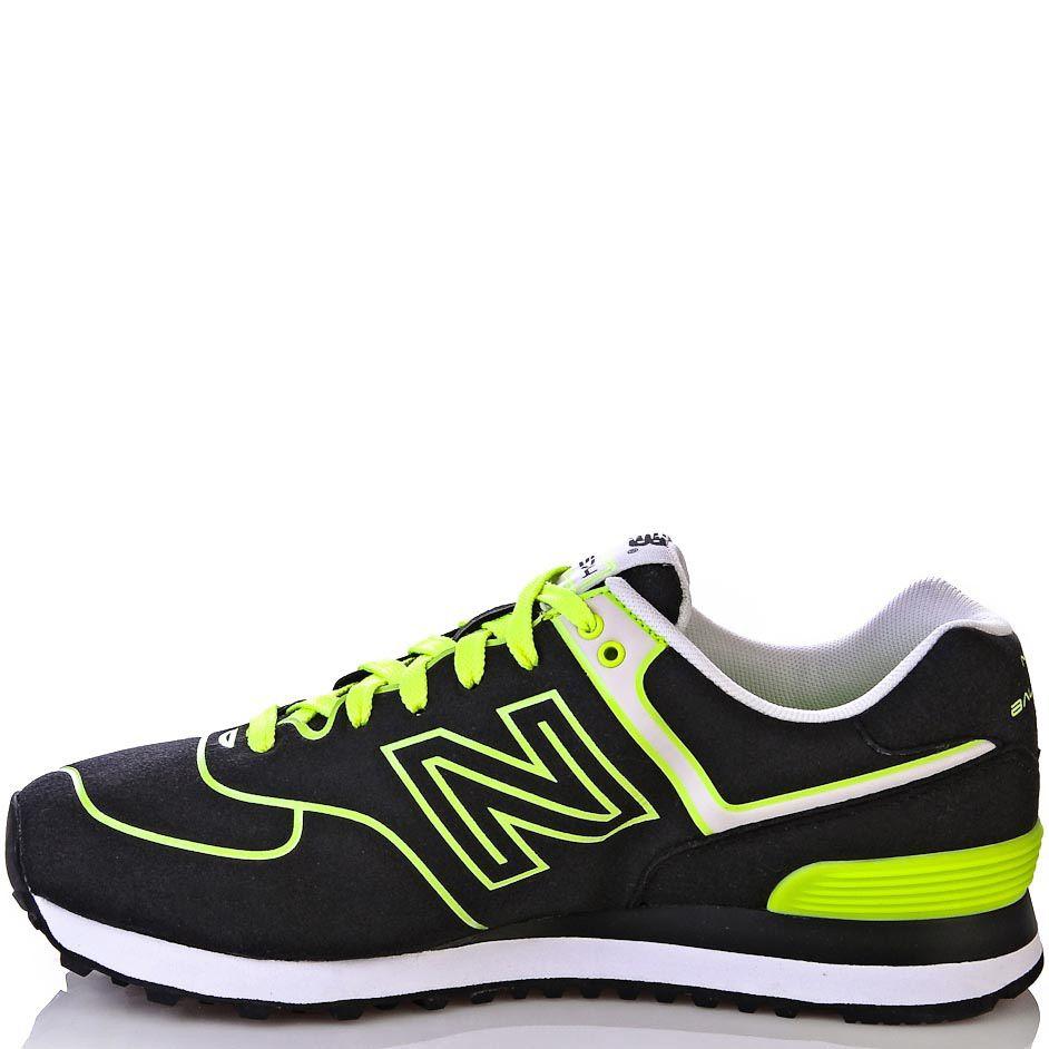 Кроссовки New Balance 574 Neon черные с ярко-лимонным