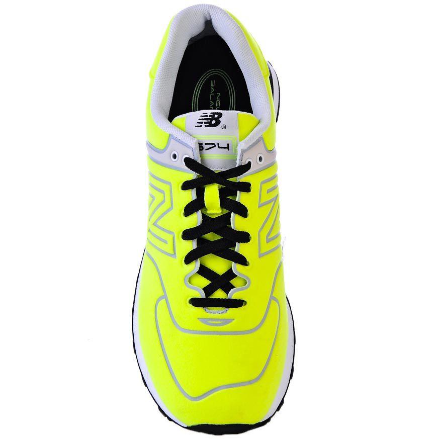 Кроссовки New Balance 574 Neon очень яркого лимонно-желтого цвета