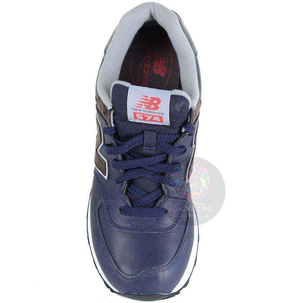 Кожаные кроссовки New Balance LifeStyle 574 Fur темно-синие с серыми и коричневыми вставками