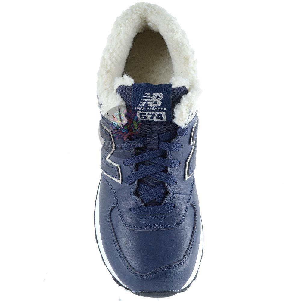Зимние кожаные кроссовки New Balance LifeStyle 574 Fur на меху темно-синие мужские