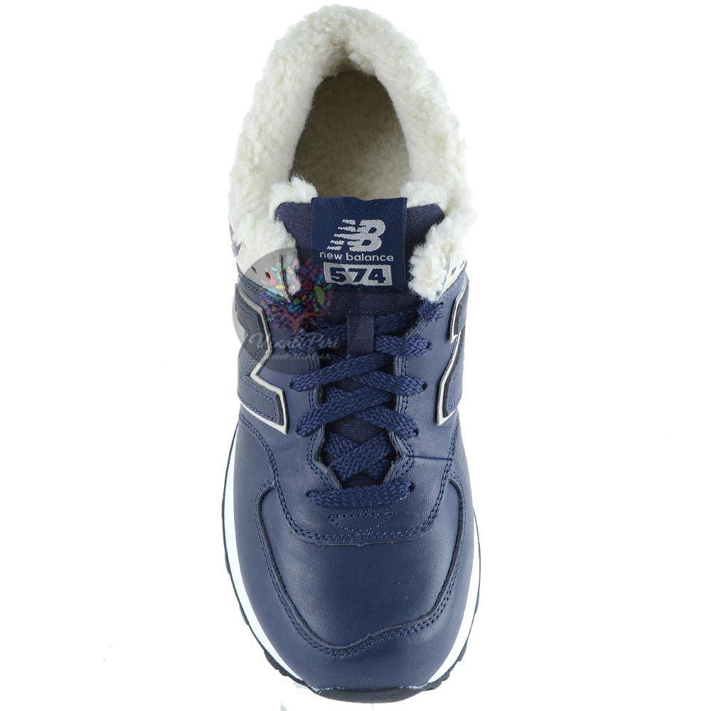 Зимние кожаные кроссовки New Balance LifeStyle 574 Fur с мехом темно-синие мужские