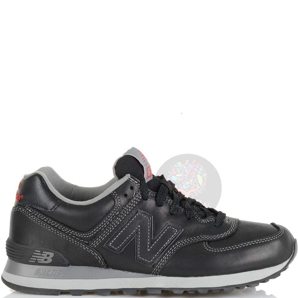 Кожаные кроссовки New Balance LifeStyle 574 Fur черно-серые